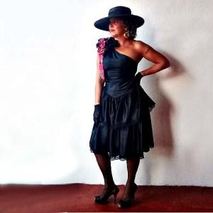80s one shoulder dress black satin pink bow-the remix vintage fashion