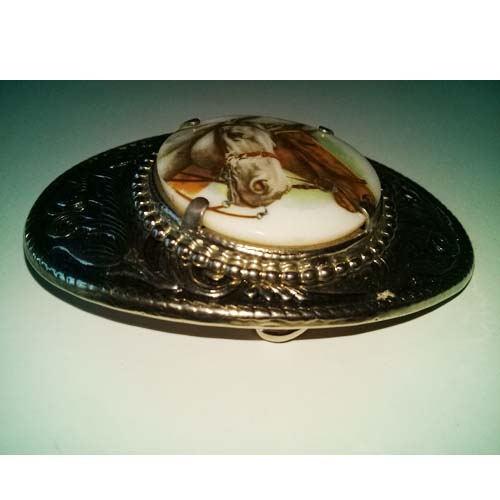 porcelain horse buckle silver nickel-the remix vintage fashion