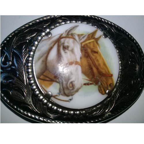 porcelain horse buckle silver nickel-the remix vintage fashion