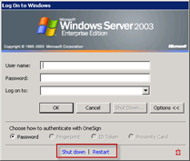 Windows Server 2003 Logon Screen | Imprivata | Shutdown | REstart
