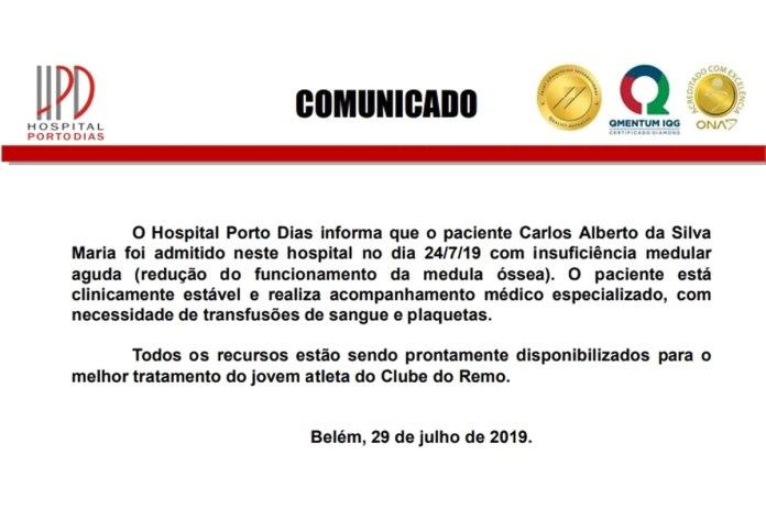 Comunicado - Hospital Porto Dias - Carlos Alberto