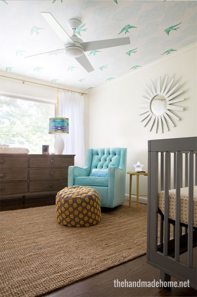 Gender Neutral Nursery With Wallpapered Ceiling