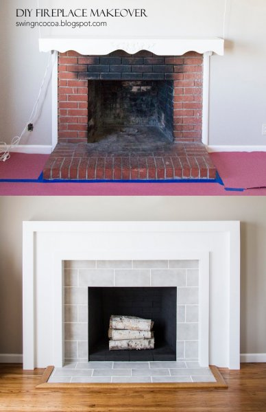 Brick to Tile Fireplace