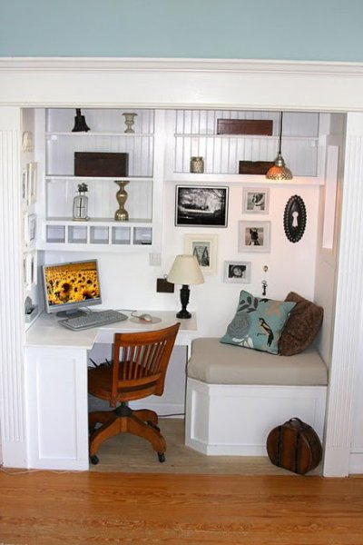 Office in closet Tiny Office With Reading Nook Remodelaholic Remodelaholic 25 Clever Closet Offices