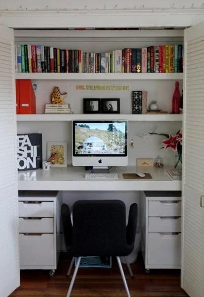 Symmetrical White Closet Office