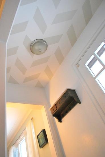 Painted Herringbone Entry Ceiling