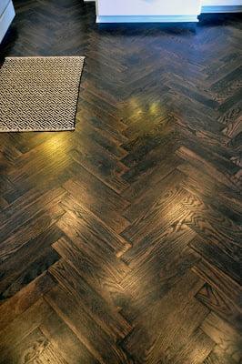 DIY Herringbone Wood Floors