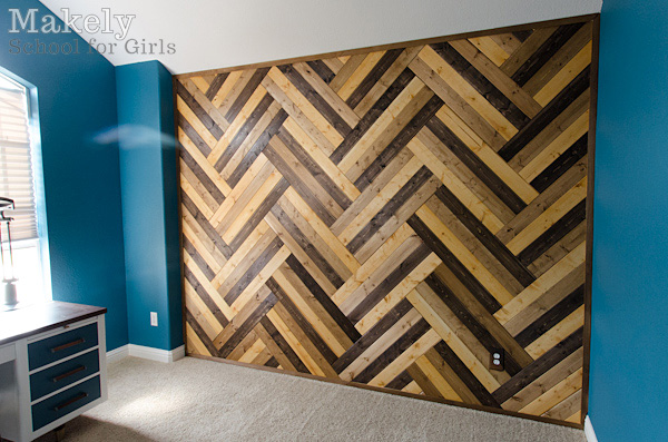Wood Herringbone Accent Wall