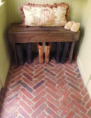 Herringbone Brick Mudroom Floor