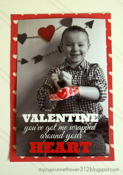 Photo valentine card with loom bracelet