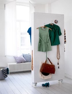 Portable pegboard clothing organizer and room divider