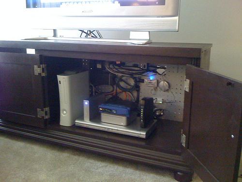 Organized Electronics Cabinet