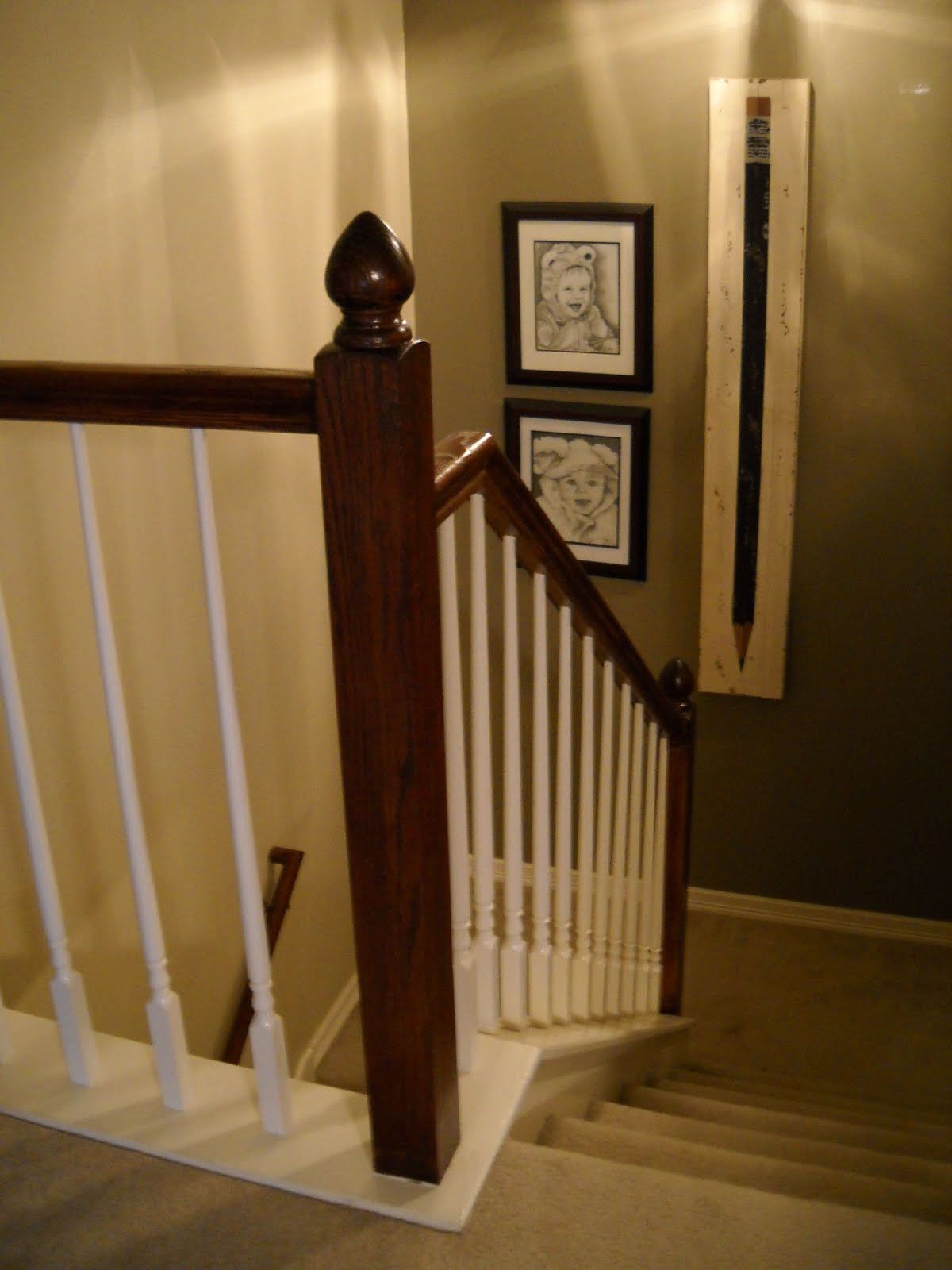 Oak To Dark Wood Stair Railing