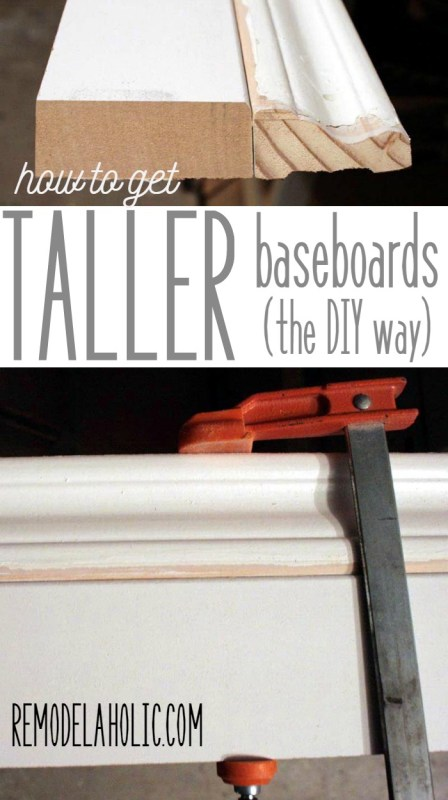 Easy way to DIY taller baseboards, using your existing trim - as little as 20 cents per foot @Remodelaholic