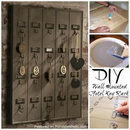 Remodelaholic Diy Wall Mounted Wooden Hotel Key Rack