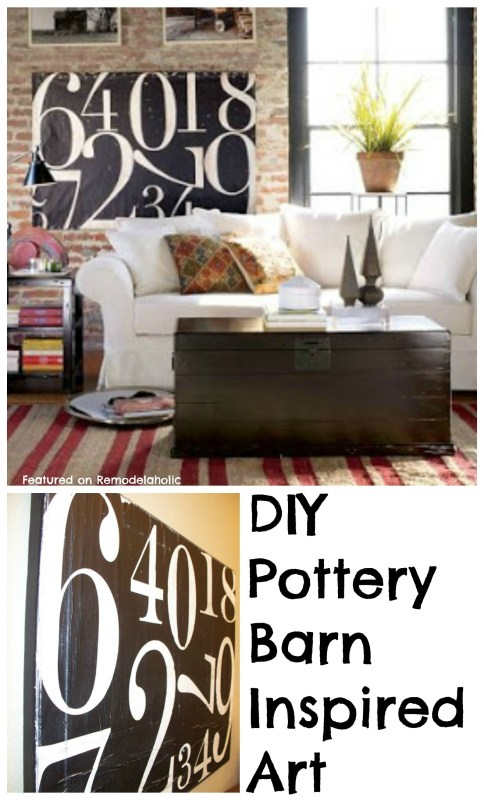 Remodelaholic Pottery Barn Inspired Painted Number Canvas Tutorial - Pottery barn art table