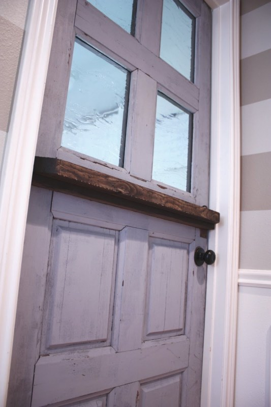 3 DIY dutch door with added glass panels by Its the Little Things featured on @Remodelaholic