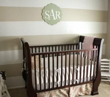 striped nursery wall