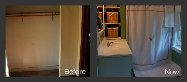 9 Remodel a small bedroom to a bathroom, before and after, by Newly Woodwards featured on @Remodelaholic.com