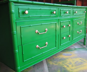 kelly green painted dresser, bamboo style dresser