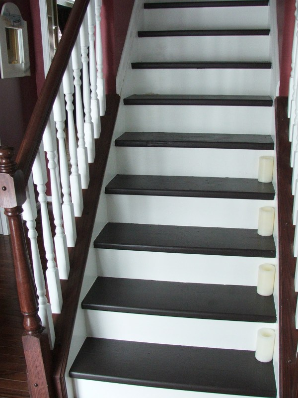 34 Budget DIY Makeover, Carpeted Stairs To Wooden Treads, By Cleverly Inspired, Featured On @Remodelaholic