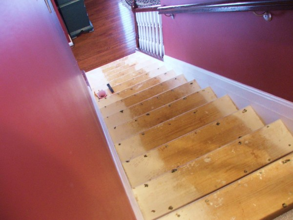 9 DIY Stairway Makeover, Carpet To Wood, By Cleverly Inspired, Featured On @Remodelaholic