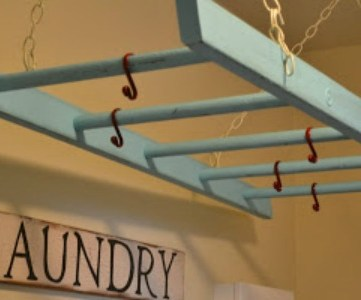 reuse a ladder for a laundry drying rack