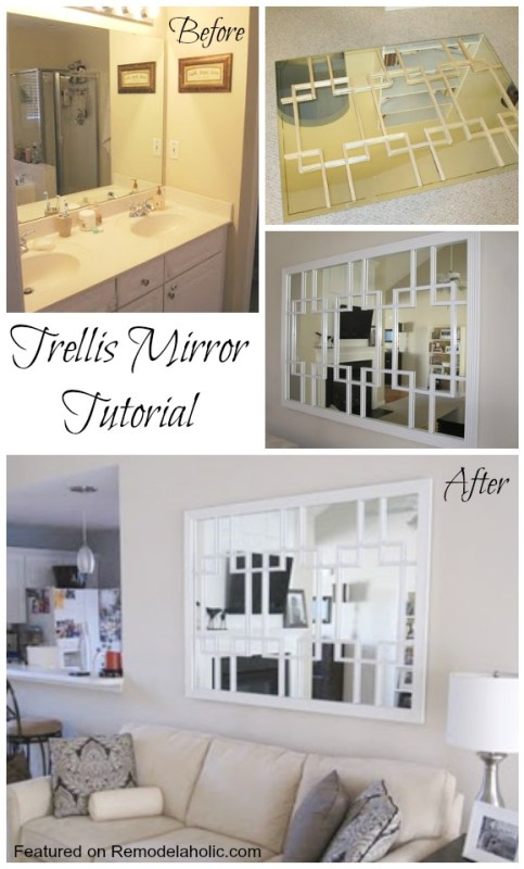Build a Trellis Mirror from an old bathroom mirror Tutorial
