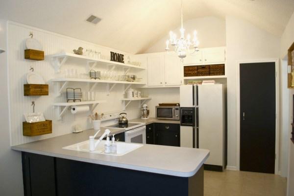 kitchen remodel black base cabinets bead baord backsplash open shelves dining room makeover (10)