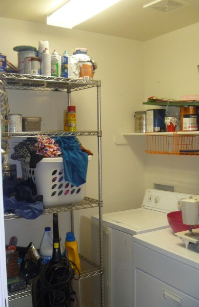 Beautiful Blue Laundry Room Makeover Laundry storage (1)