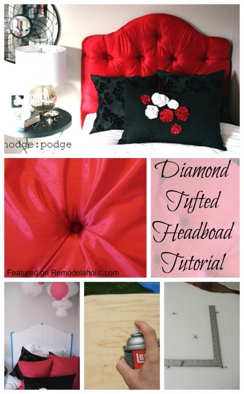 Remodelaholic   How to Make a Diamond Tufted Headboard HOW to make a Diamond Tufted Headboard Tutorial Featured on Remodelaholic