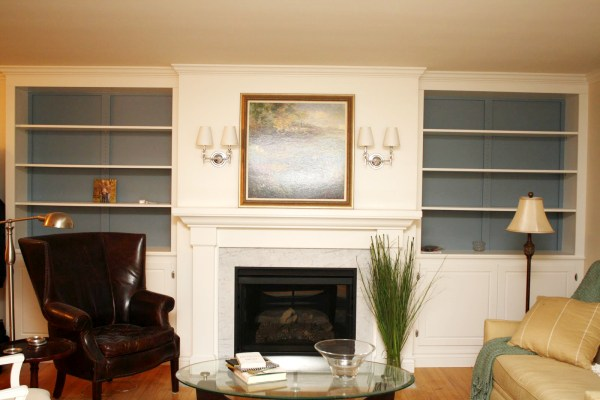Living Room Remodel, Adding a Fireplace and Built in Bookshelves (11)