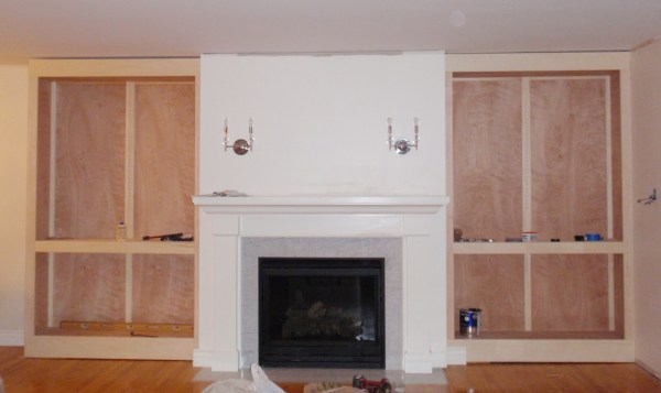 Living Room Remodel, Adding a Fireplace and Built in Bookshelves (9)
