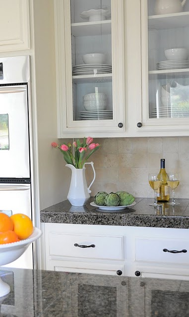 20 Glass panel kitchen cabinets, DIY tutorial, by My Uncommon Slice of Suburbia featured on @Remodelaholic