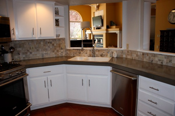 33 DIY Concrete Countertops Using Existing Countertop, By Design Stocker Featured On @Remodelaholic