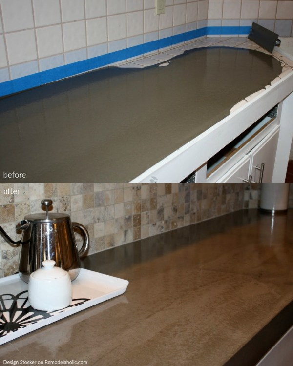 Before And After Poured Quick Install Concrete Countertops Over Existing Tile Countertop @Remodelaholic