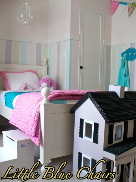 little girls striped wall bedroom2