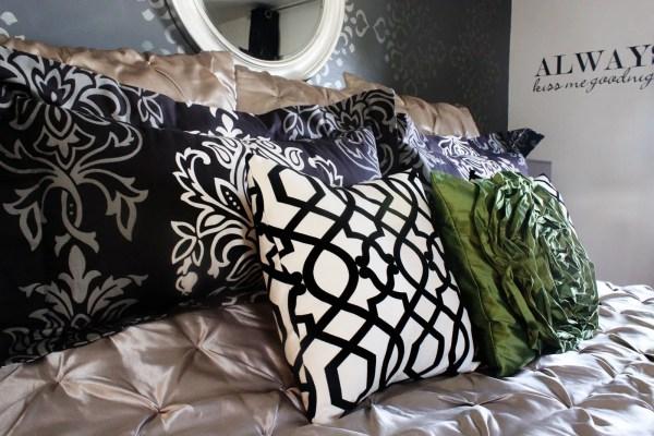 Stenciled wall master bedroom