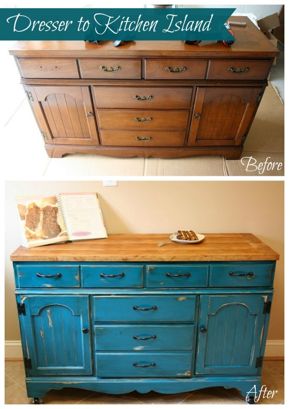 From Dresser to Kitchen Island Tutorial #kitchen_island #Blue #dresser #upcycle 1