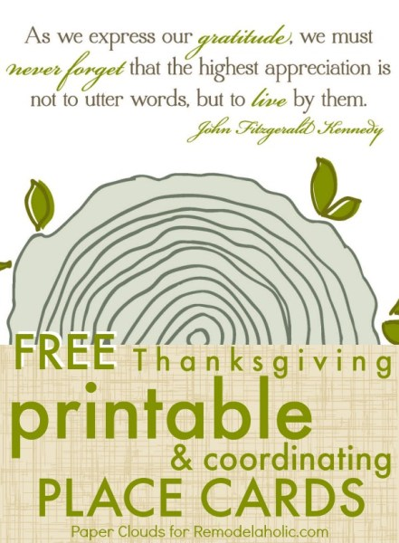Free Thanksgiving Printable Art and Place Cards @Remodelaholic