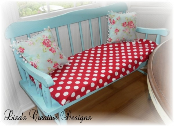 Cottage Chic, Diy Bench Cushion For Red And Turquoise Kitchen By Lisas Creative Designs Featured On Remodelaholic