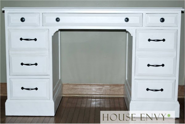pottery barn desk look alike on Remodelaholic