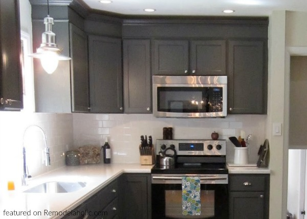 Remodelaholic Painted Dark Grey Kitchen Cabinets In A