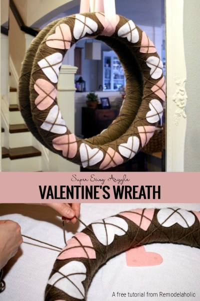 Making An Argyle Valentines Wreath Pin Image