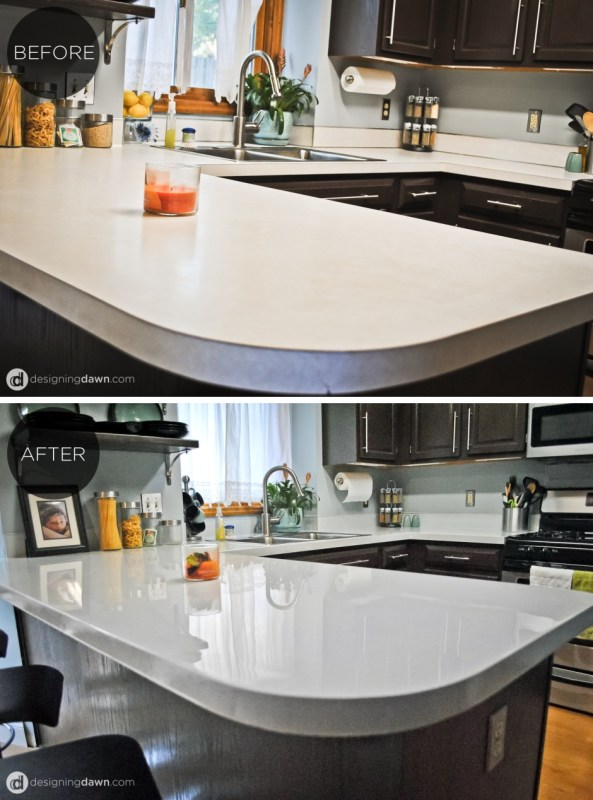 1 Glossy Painted Kitchen Countertop Tutorial, By AD Aesthetic Featured On Remodelaholic