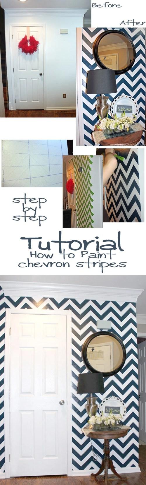 Chevron Stripe Painting Tutorial #chevron #stripe #painting #wall