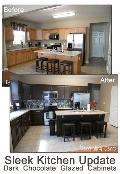 Before And After Chocolate Brown Kitchen Rustoleum Kit