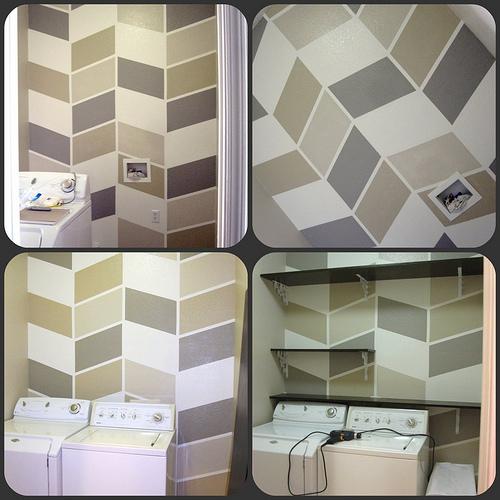 Painted Herringbone Wall By DesignBuildLove Featured On Remodelaholic