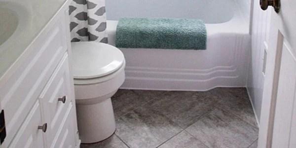 remodelaholic bathroom redo grouted peel and stick floor tiles rh remodelaholic com  redoing a bathroom floor in tile