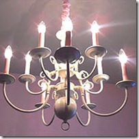 diy chandelier painted white and pink